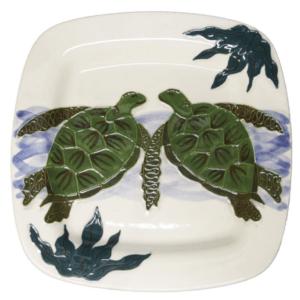 Square Rim Dinner Plate Embossed Honu (Turtle)