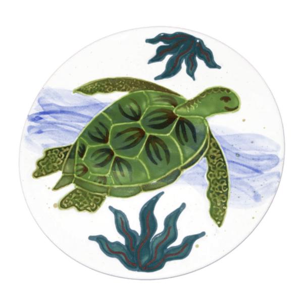 """8"""" Round Coupe Salad / Dessert Plate Embossed Honu (Turtle)"""