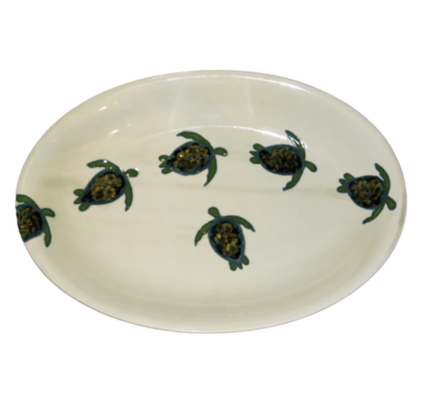Oval Coupe Platter Celadon Turtles