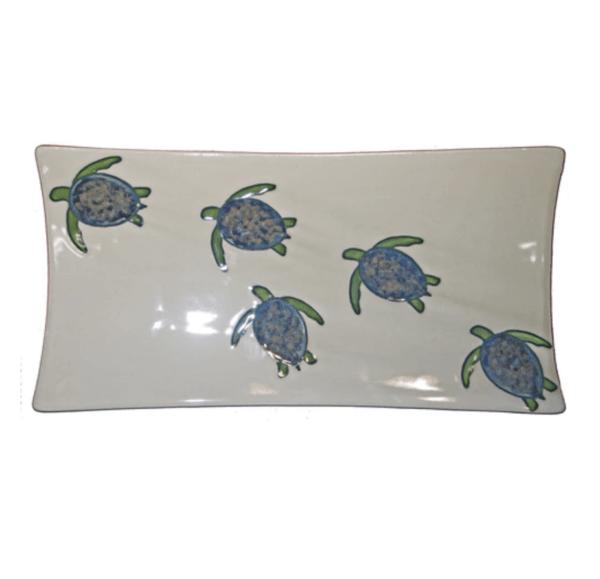 """15"""" Swoop Sushi Rectangular Platter Celadon Turtles"""