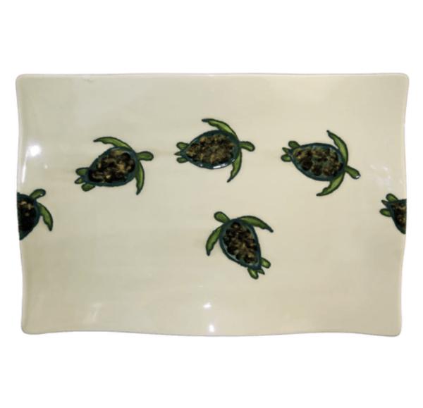 """14"""" Flare Rectangular Platter Celadon Turtles"""