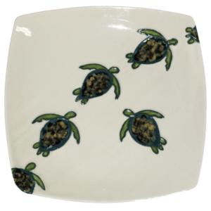 "11"" Square Dinner Plate Celadon Turtles"