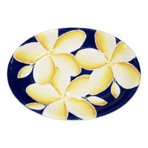 Oval Coupe Platter Blue Plumeria