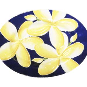 Oval Rim Platter Blue Plumeria