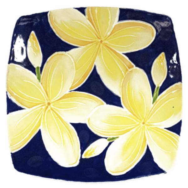 Square Sushi Plate Blue Plumeria