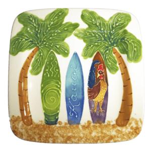 "8"" Square Rim Salad / Dessert Plate Hawaiian Surfboards"