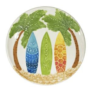 "8"" Round Coupe Salad / Dessert Plate Hawaiian Surfboards"