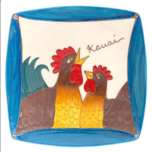 Square Plate Blue Rooster 1011