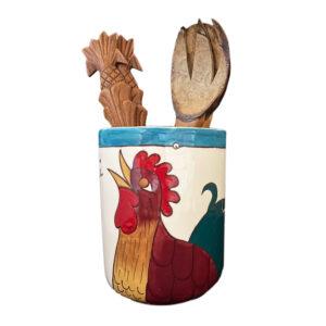 Utensil Holder Blue Rooster