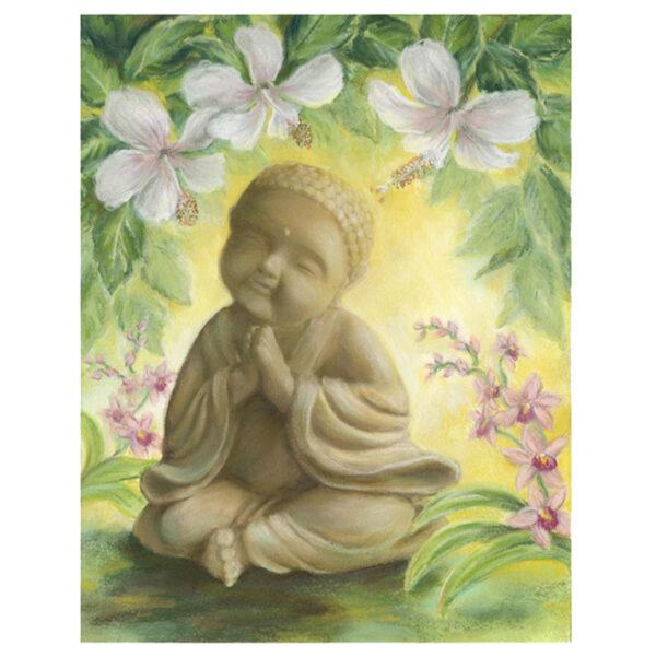 Baby Buddha Under Hibiscus Giclée