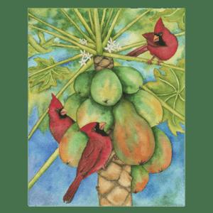 Cardinals in the Papayas Giclée