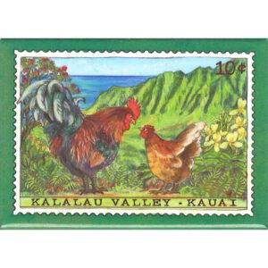 Hen & Rooster/Kalalau Valley 10 Cent Stamp Magnet