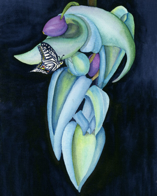 Blue Jade with Butterfly Print Nancy Forbes