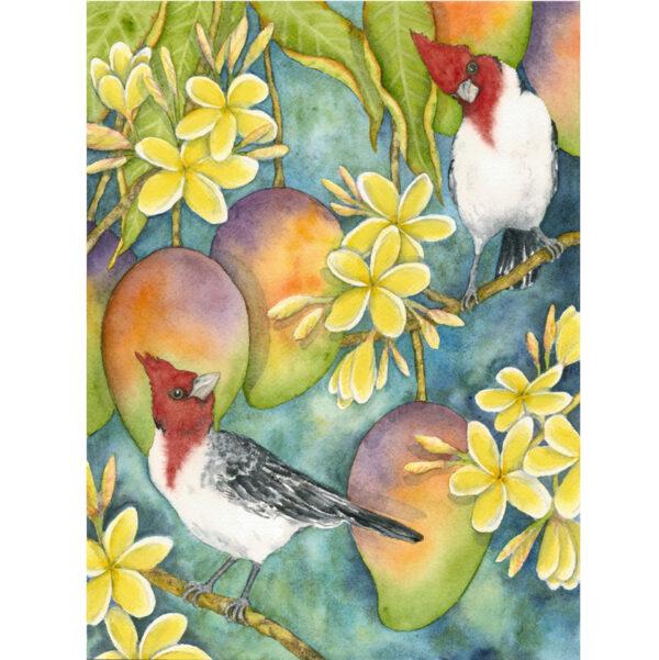 Brazilian Cardinals in Plumeria Note Card