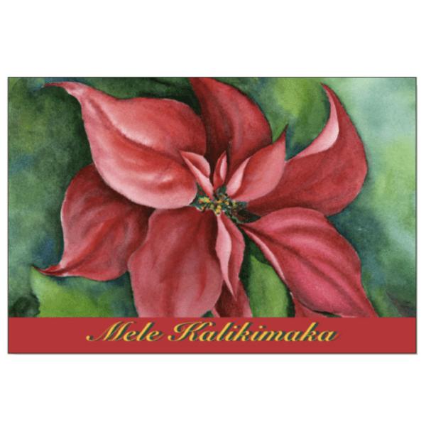 Mele Kalikimaka Poinsetta Greeting Card