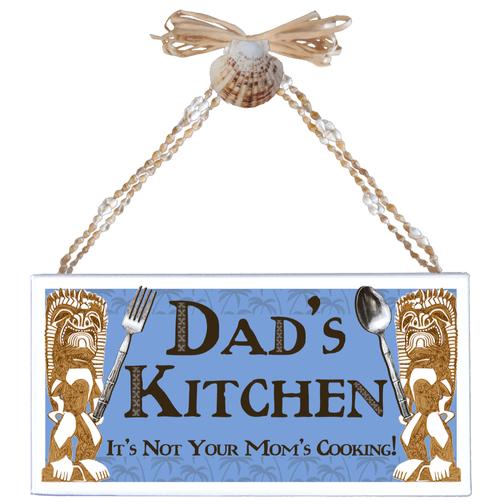 Dad's Kitchen Varnished Canvas Sign