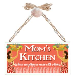 Mom's Kitchen Varnished Canvas Sign