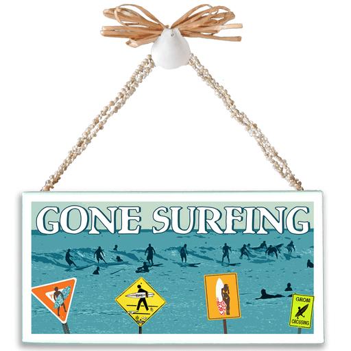 Gone Surfing Varnished Canvas Sign
