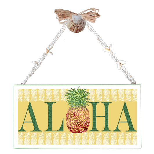 Yellow Aloha Pineapple Varnished Canvas Sign