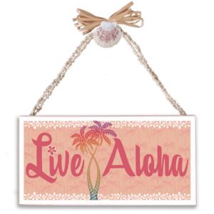 Live Aloha Varnished Canvas Sign