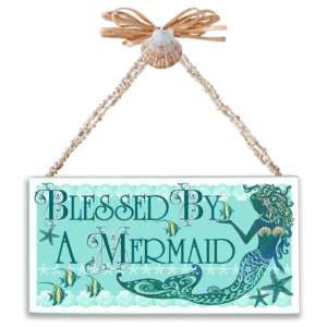 Blessed By a Mermaid Varnished Canvas Sign