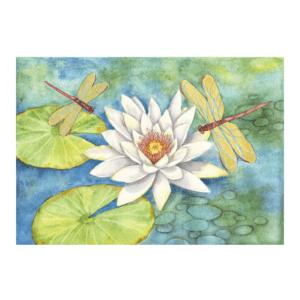 White Lotus, Gold Dragonflies Giclée