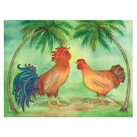 Kane & Wahine rooster and chicken kauai