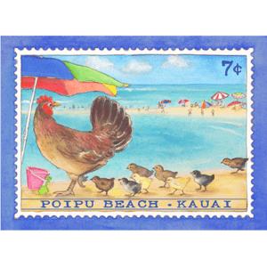Poipu Beach Chicken Stamp Note Card