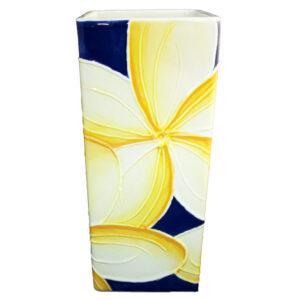 Vase Blue Plumeria Side One