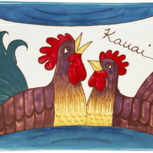 """13"""" Flat Handled Tray Blue Rooster"""