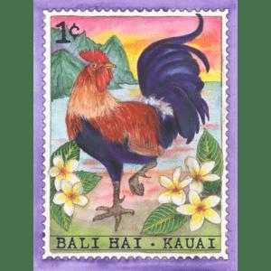 Bali Hai Rooster, Kauai Stamp Print