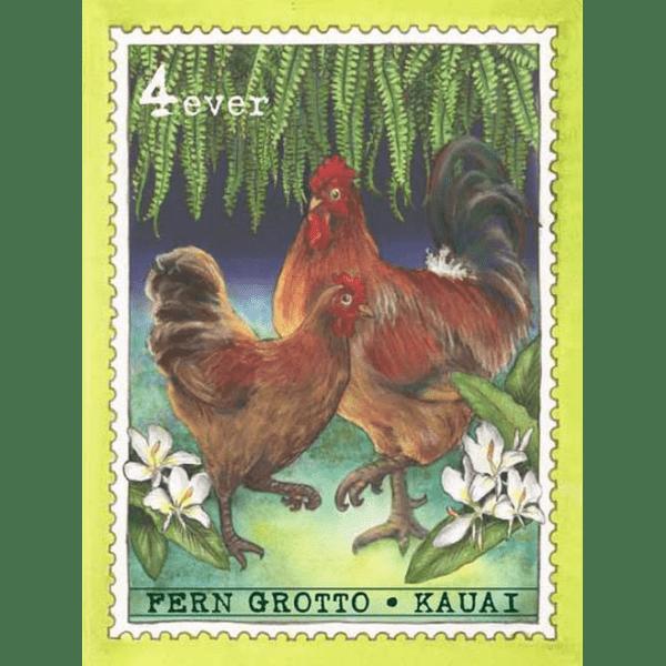 Fern Grotto Chickens Kauai Stamp Print