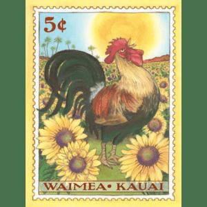 Waimea Rooster Kauai Stamp Print