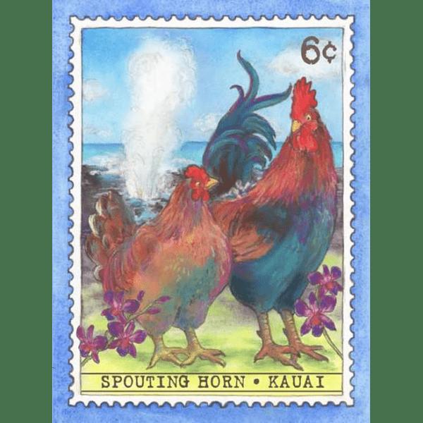 Spouting Horn Kauai Chickens Print