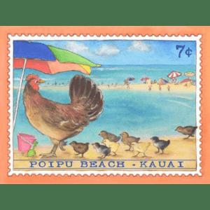 Poipu Beach Chickens Kauai Stamp Print