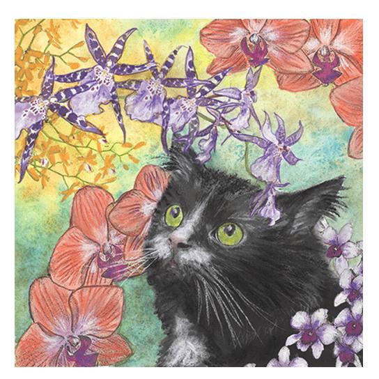Cat Among Orchids II Print