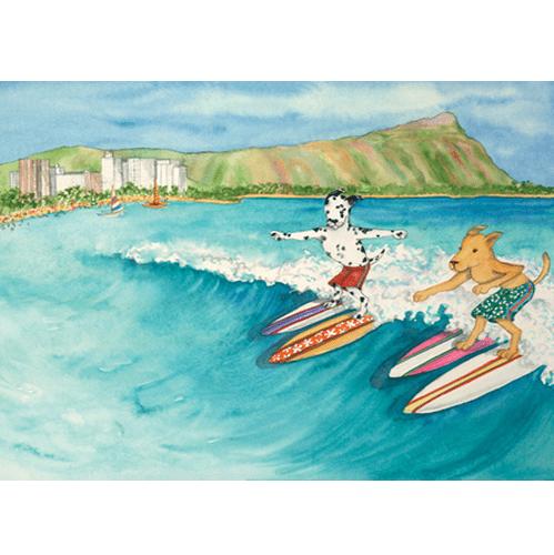 Surf Dogs Oahu Print