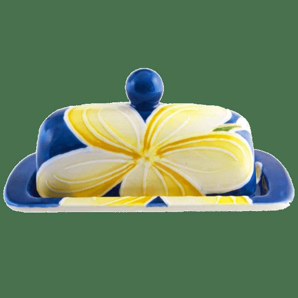 Blue Plumeria Butter Dish