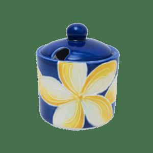 Blue Plumeria Sugar Bowl