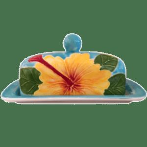 Yellow Hibiscus Butter Dish
