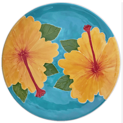 Yellow Hibiscus Round Coupe Dinner Plate