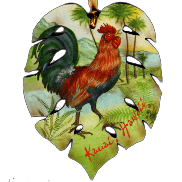 Rooster Monstera Leaf Ornament