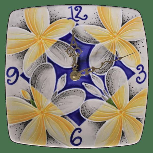 Blue Plumeria Plate Clock Square