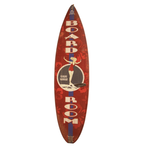 Board Room - Red Wooden Surfboard Sign