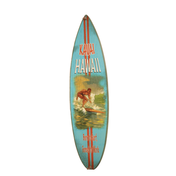 Born to Surf Forced to Work Wood Surfboard Sign