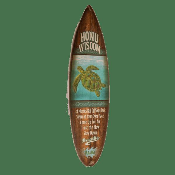 Honu Wisdom - Wooden Surfboard Sign