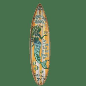 Mermaid Wisdome Wood Surfboard Sign