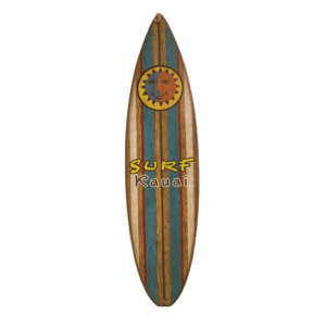Surf Kauai Blue Stripe Wood Surfboard Sign