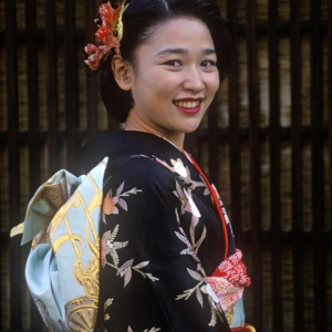 A JAPANESE woman is dressed in a traditional KIMONO to celebrate her upcoming marriage - KURASHIKI, JAPAN
