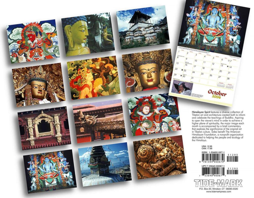 The back cover of Tidemark Publishing Himalayan Spirit calendar with photography by Craig Lovell